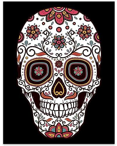 Amazon Com Sugar Skull Art 11 X 14 Unframed Print Sugar Skull Wall Decor Great Gift For Anyone Who Loves Sugar Skull Decor Handmade