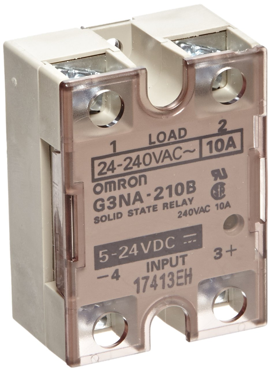 5 to 24 VDC Input Voltage 24 to 240 VAC Rated Load Voltage 10 A Rated Load Current Yellow Indicator Zero Cross Function Phototriac Coupler Isolation Omron G3NA-210B-DC5-24 Solid State Relay