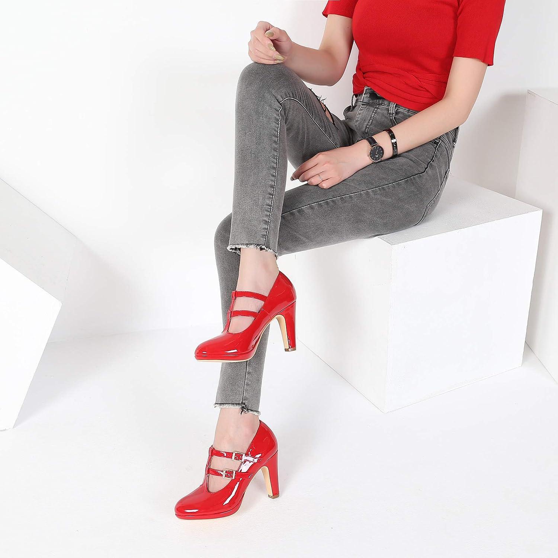 MACKIN J G574-1 Womens Mary Jane Vintage Heels Platform Block Heel Retro T-Strap Court Shoes