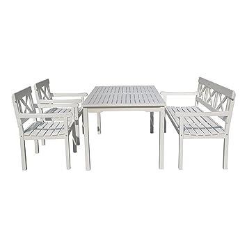 Tischgruppe, Sitzgruppe, Gartenmöbel Im Schweden Look, Eukalyptus Holz,  Weiß Lackiert