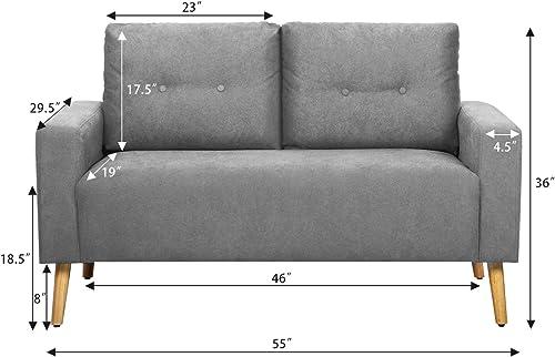 Pawnova Upholstered Mid Century Loveseat Sofa