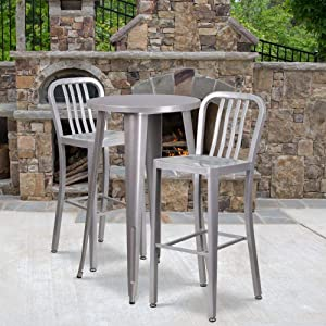 "Flash Furniture Commercial Grade 24"" Round Silver Metal Indoor-Outdoor Bar Table Set with 2 Vertical Slat Back Stools"