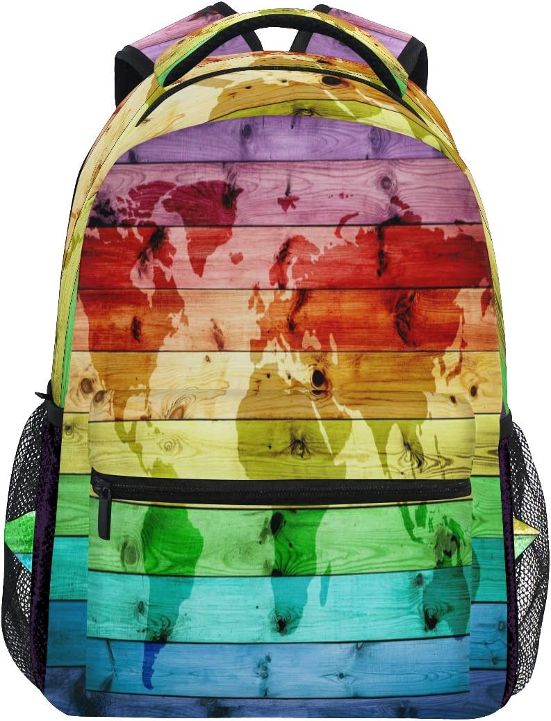 Rainbow World Map Wood Backpacks Travel Laptop Daypack School Bags for Teens Men Women