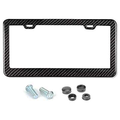 Mega Racer License Plate Frame Carbon Fiber Carbon Frame 1 Piece Stainless Steel Printed Carbon Fiber License Plate Frame W Stainless Steel Screws, Carbon Fiber License Frame JDM License Plate Frame: Automotive