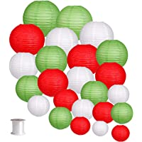 24pcs Round Paper Lanterns for Wedding Birthday Party Christmas Decoration Green/Red