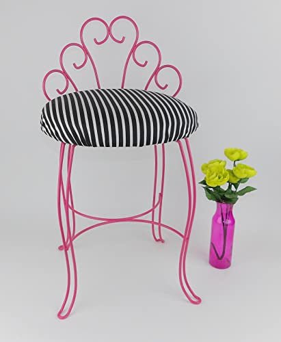Vanity Stool Chair Dressing Room Black Stripes Pink