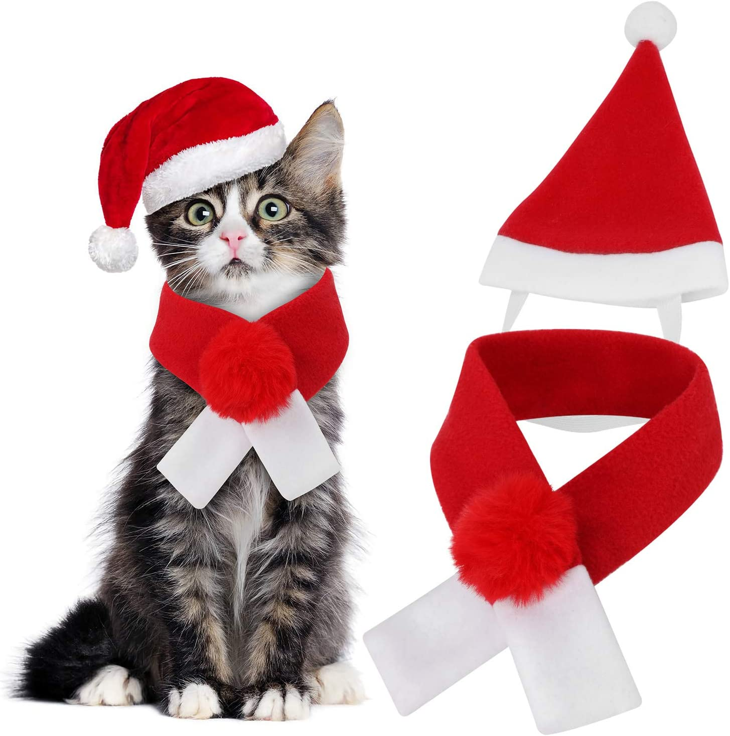 Qkurt Pet Xmas Costumes Apparel Christmas Santa Hat Scarf for Cats//Dogs Cosplay Dress up Pets Christmas Thanksgiving Day New Year Party Fancy Dress Fashion Warmth
