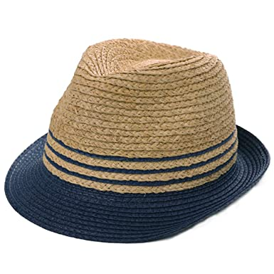 7a3192d0a3973b Mens Packable Raffia Straw Panama Fedora Sun Summer Beach Navy Striped  Derby Gangster Hat Trilby for