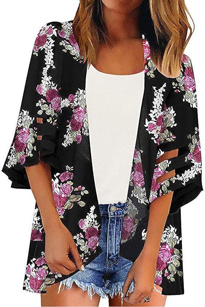 Mimfor Women Button V Neck Mesh Panel Blouse 3/4 Bell Sleeve Loose Top Shirt