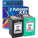 PlatinumSerie® Lot de cartouches d'encre pour HP 337 XL HP 343 XL Officejet 6310 6310 6315 H470 Pro K7100 (1) Set 2x Patrone Farbset