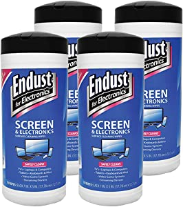 4-Pack of Endust for Electronics Cleaning Wipes for TV, Computer, Tablet, and Phone Screens