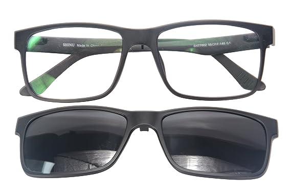 114d5c82f98 SHINU Polarized Sunglasses Prescription Eyewear TR90 Optical Frames  Magnetic with 1 Grey Lens Clip on-SH77002(black)  Amazon.co.uk  Clothing