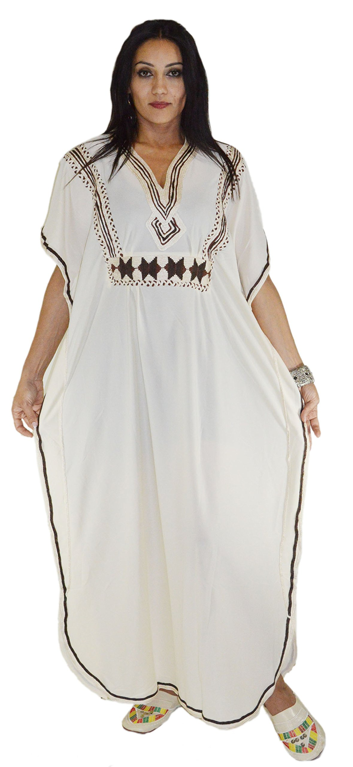 Moroccan Caftan Handmade Breathable with Hand Embroidery Beige