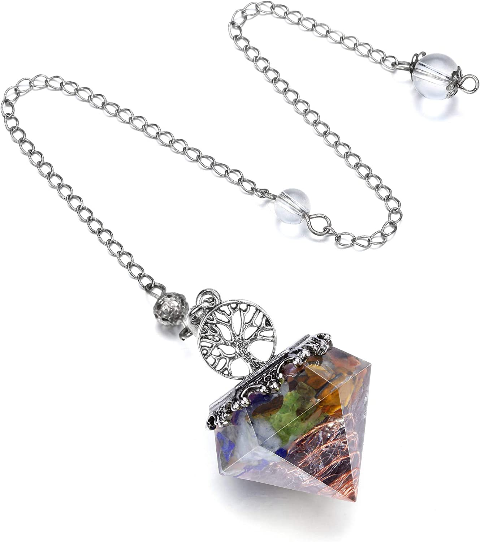 Jovivi 7 Chakra Gemstone Crystal Pendulum for Divination Reiki Dowsing 6 Facet Healing Pointed Stone Resin Tree of Life Pendulums Pendant for Balancing Spiritual Wicca