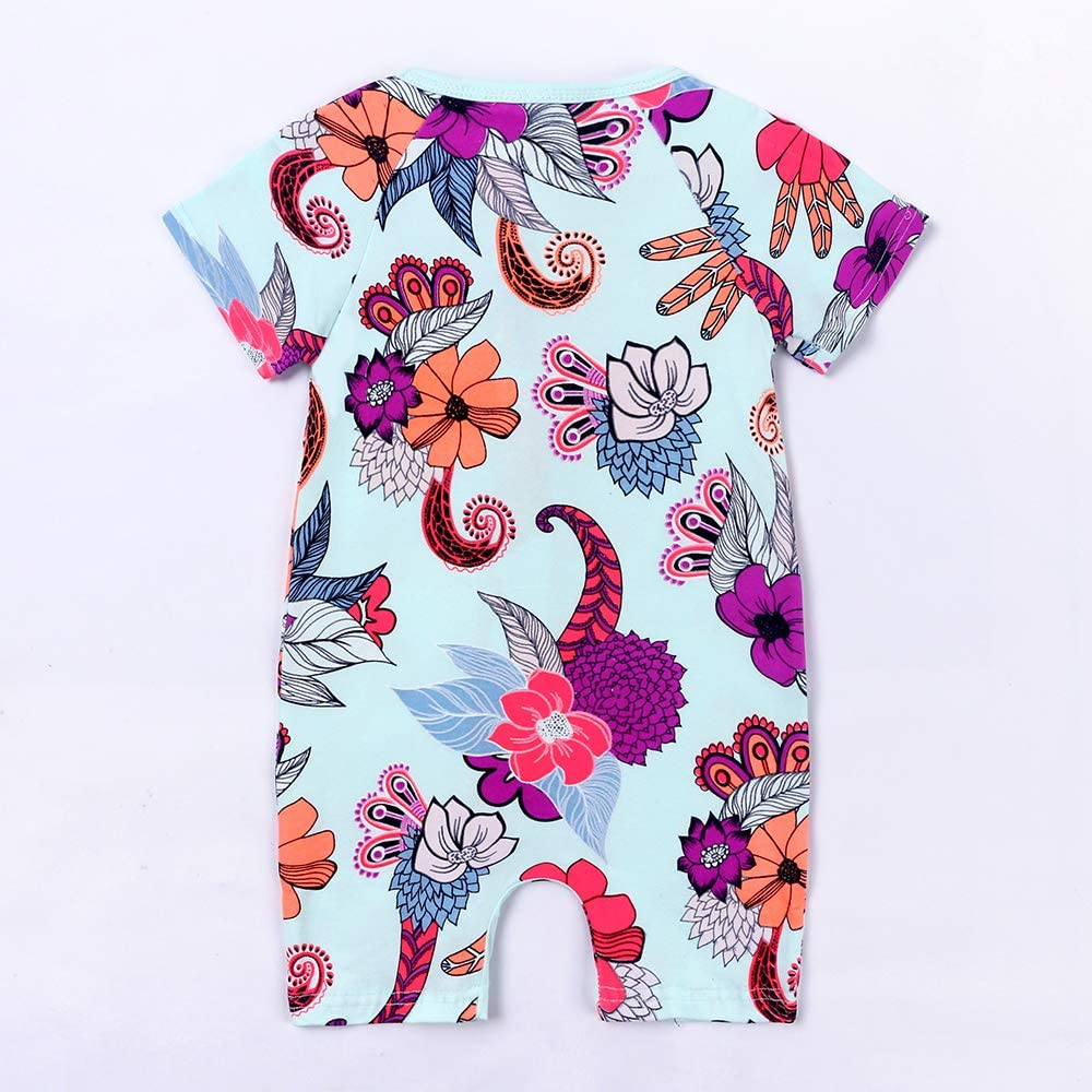 Kids Tales Baby Girls Short Sleeve Cotton Pajamas Infant Graphic Zipper Romper