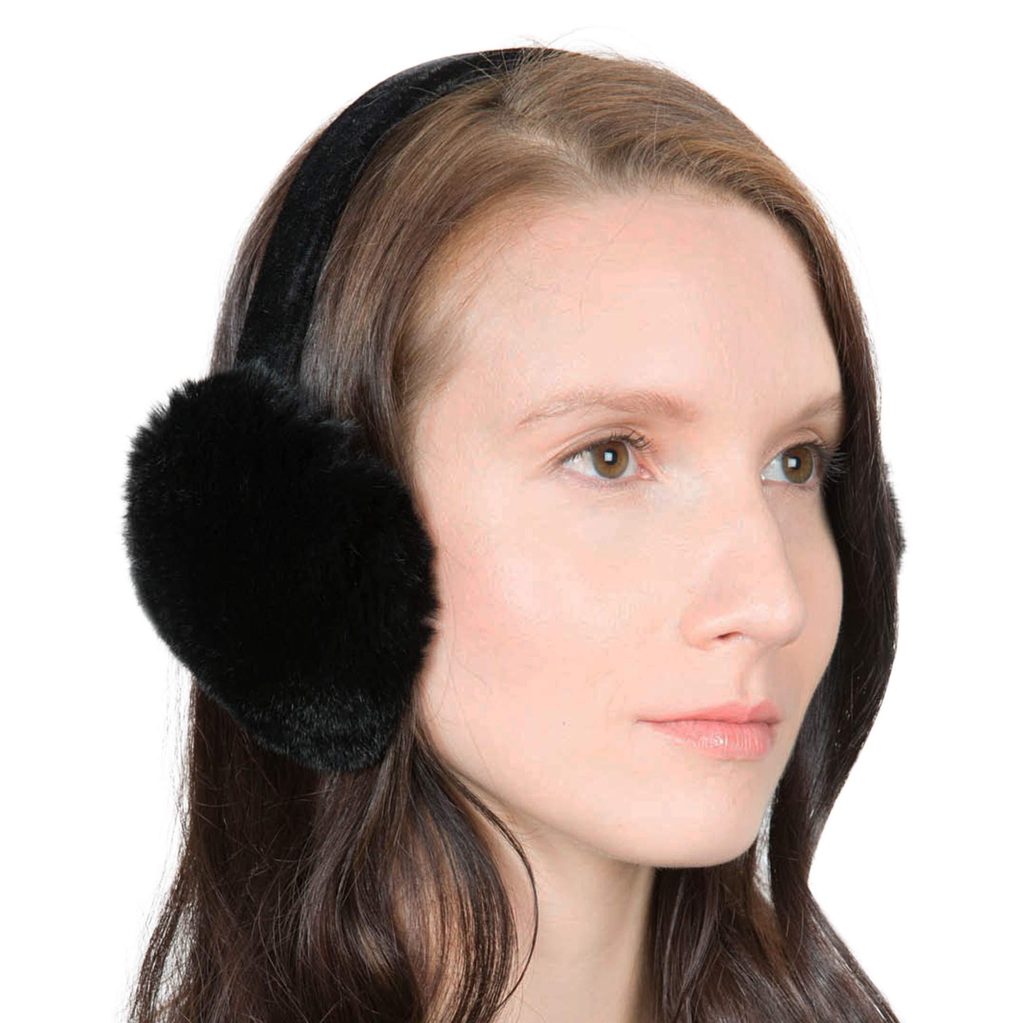 OBURLA Fur Earmuffs | Luxurious Real Fur Over Ear Warmers with Headband (Rex Rabbit Fur, Black)