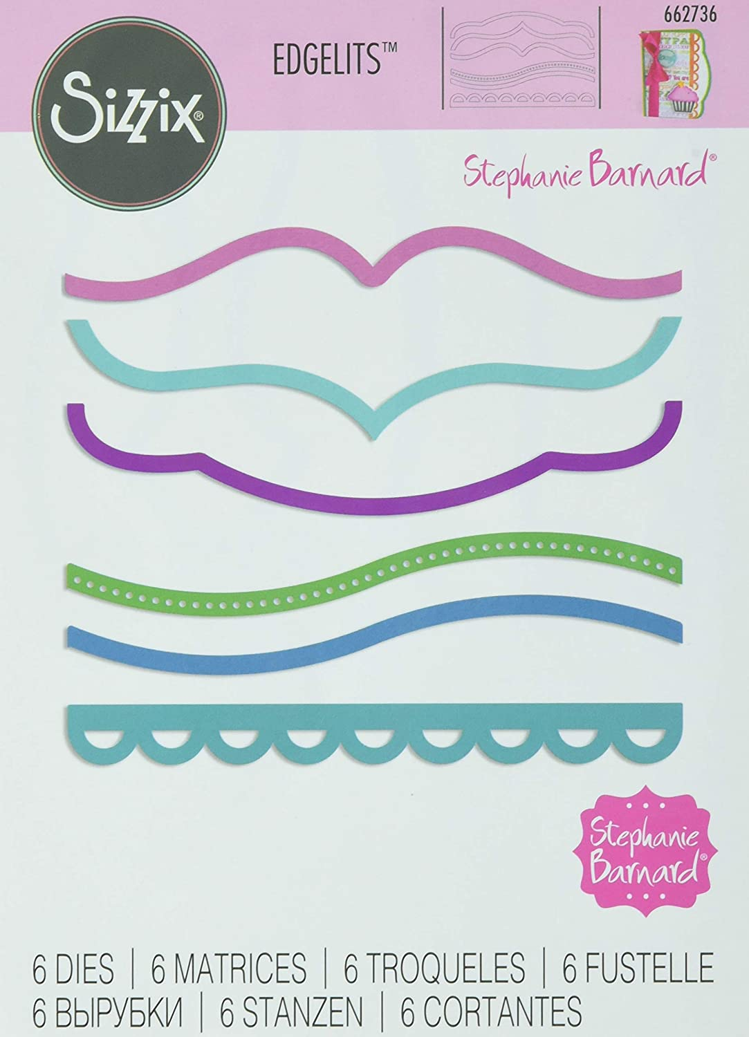 Sizzix Die Set 662736, Brackets, Bevels & Lace by Stephanie Barnard, 6 Pack, Multi Color, One Size Edgelits, Multicolor