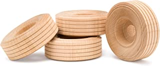 product image for Wood Toy Wheels Treaded Style, 2 Inch Diameter, Pack of 24, for Crafts and DIY Toy Cars, by Woodpeckers