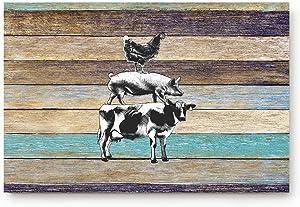 ALAGO HOME Doormats Entrace Door Rug, Retro Rustic Farm with Western Wooden Cow Pig Chicken,Indoor/Bathroom/Kitchen/Bedroom/Entryway Floor Mat Decorative, Non-Slip Low Profile,20x31.5 inch