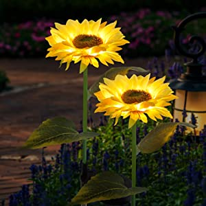 FORUP 2 Pack Solar Garden Stake Lights, Outdoor Sunflower Lights, LED Solar Powered Lights for Patio Lawn Garden Yard Pathway Decoration, Yellow