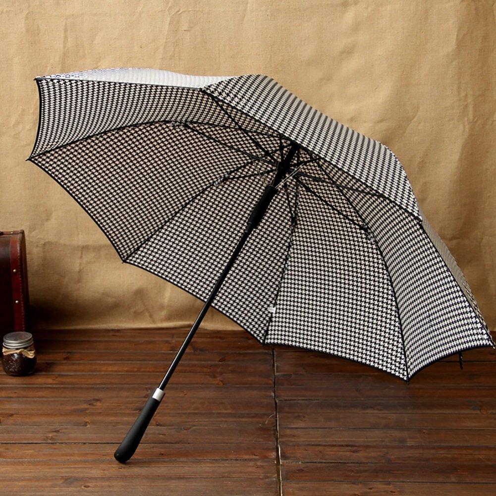 業務用 ビンテージ ロングハンドル 傘ハンドル 英国スタイル スティック傘 デュアルブレラ (色:千鳥格子、デザイン:ストレート1) B07CR71M3M