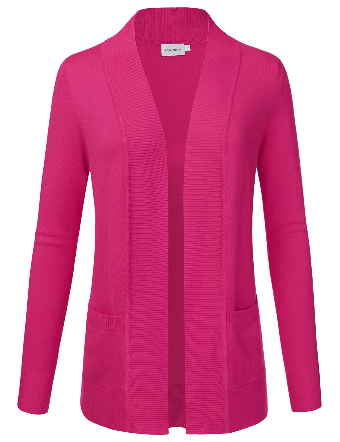 JJ Perfection Women's Open Front Knit Long Sleeve Pockets Sweater Cardigan HOTPINK 2XL