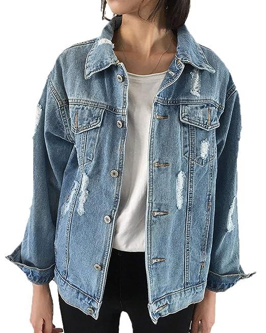 Yasminey Chaqueta Vaquera Mujer Elegantes Casual Rasgado De Solapa Manga  Largo Afligido Abrigo De Jeans Joven Azul Tendencia Fashion Anchas  Streetwear ... 92713a28185