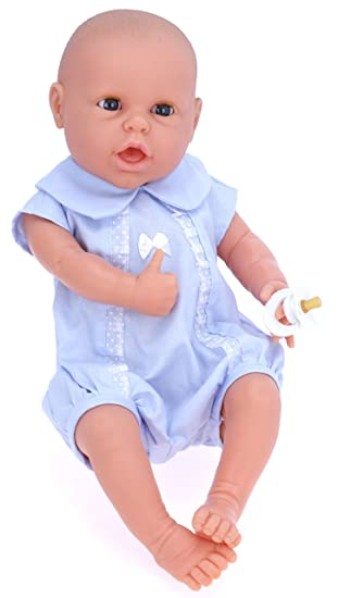 Amazon.es: Belonil Newborn, muñeco europeo con pelele azul (The Doll Factory Europe 13.60507.13108): Juguetes y juegos
