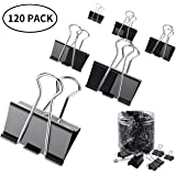 EXTSUD Metal Binder Clip Clamp, Foldback Clips, Black Metal Office Paper Clamps 19/25/32mm for Office Organize Supplies Household Articles (120 pcs)