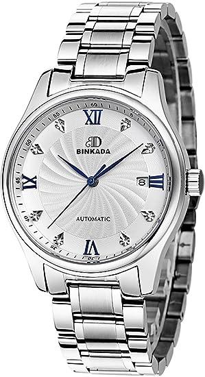 binkada mejor asequible automático mecánico esfera blanca reloj para hombre # 7001 m01 - 1: Amazon.es: Relojes