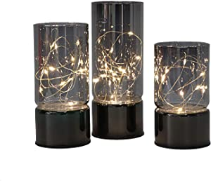 Set of 3 Glass Cylinder Lanterns with Fairy Lights, Flameless Candle with Timer Function