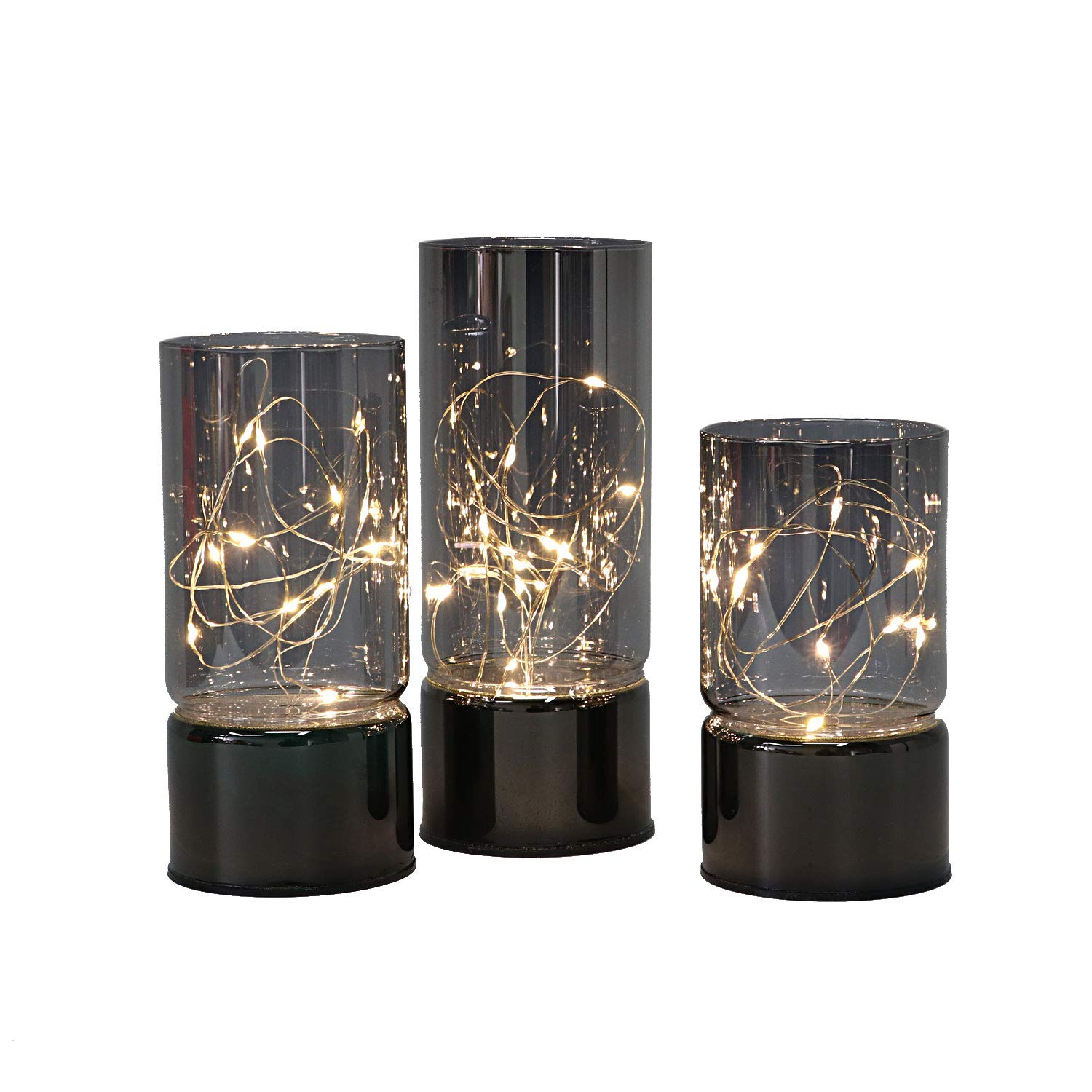 Rhytsing Set of 3 Glass Cylinder Lanterns with Fairy Lights, Battery Operated Candles with Timer Function