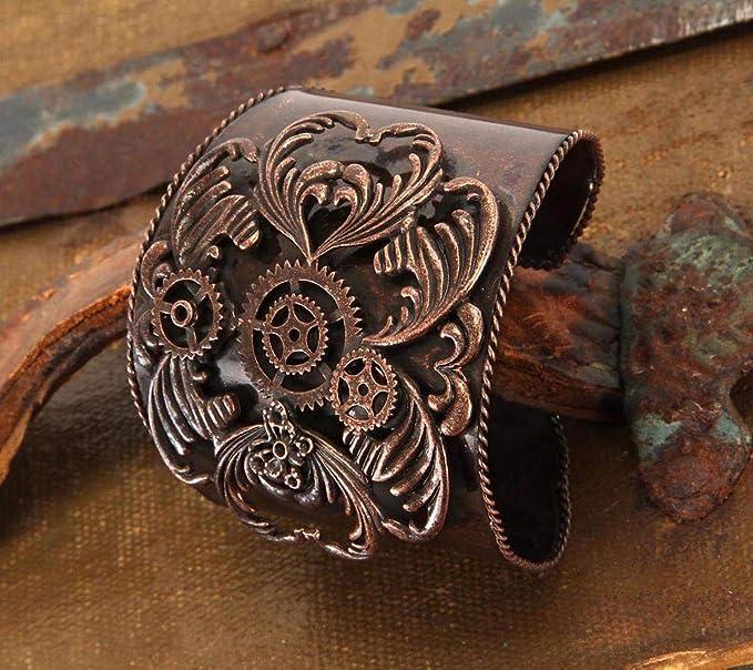 """Cuff Bracelet I LOVE YOU Antiqued Copper  8/"""" adjustable Vintage Steampunk"""