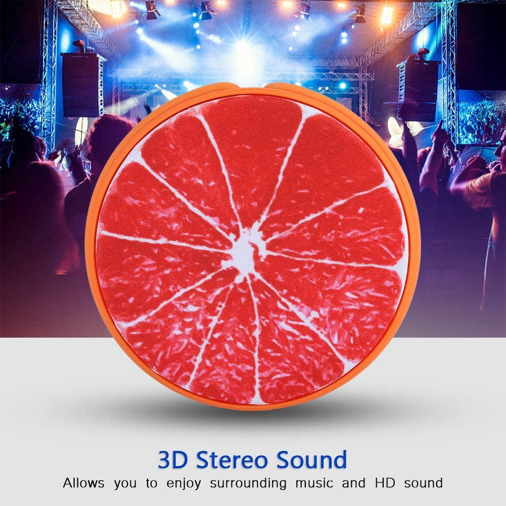 Crystal Clear Grapefruit Mini Bluetooth Speakers Louder Volume Portable Fruit-Shaped Outdoor Speaker USB Music Player 3D Stereo