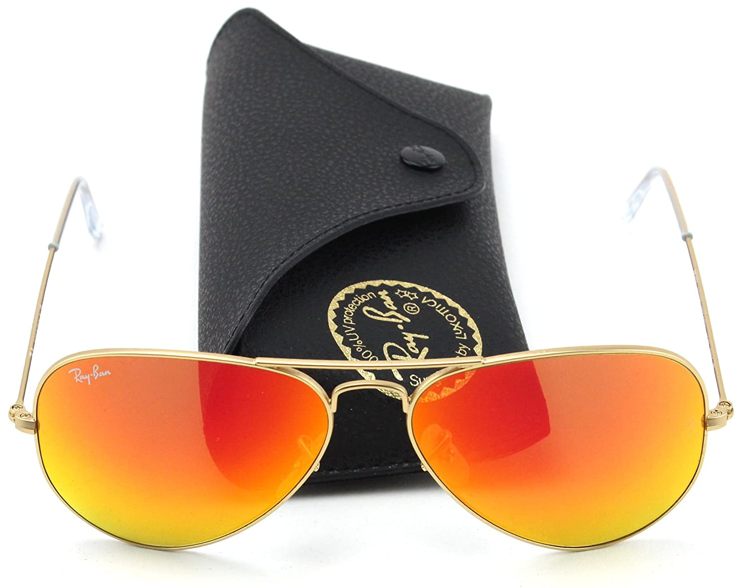 8ac2c5ffd0a Amazon.com  Ray Ban RB3025 112 69 Sunglasses Gold Frame   Orange Flash Lens  62mm  Clothing