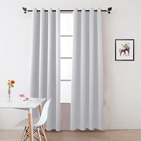 Floweroom Room Darkening Curtains Thermal Insulated Blackout Curtains With Grommet For Living Room Greyish White 52 By 96 Inch 2 Panels