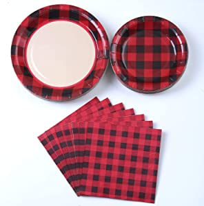 Junk Queens 194 piece set Buffalo Plaid Red & Black Party Supplies, Lumberjack Party Plates and Napkins Kit Set, Birthday Plates, Cups, Forks, Knifes, and Spoons - 24 Guests Tableware