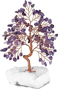 Top Plaza Amethyst Healing Crystals Copper Money Tree Wrapped On Clear Quartz Cluster Geode Druzy Base Home Office Desk Decor for Reiki, Good Luck, Wealth, Feng Shui