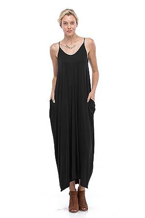 0b4d1d7b5e Love In Spaghetti Strap Loose Fit Harem Maxi Dress w  Pockets at ...