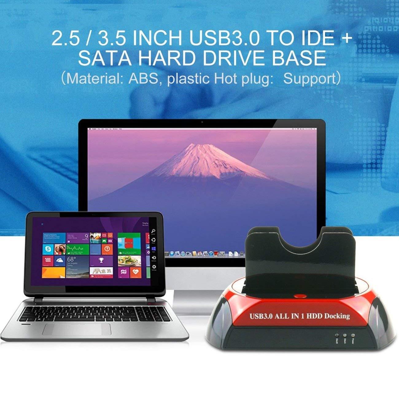 875U3-J All in 1 HDD Docking 2.5//3.5 USB 3.0//2.0 A IDE SATA Dock Station 5GB s Transferencia de Alta Velocidad con Adaptador de Corriente JBP-X