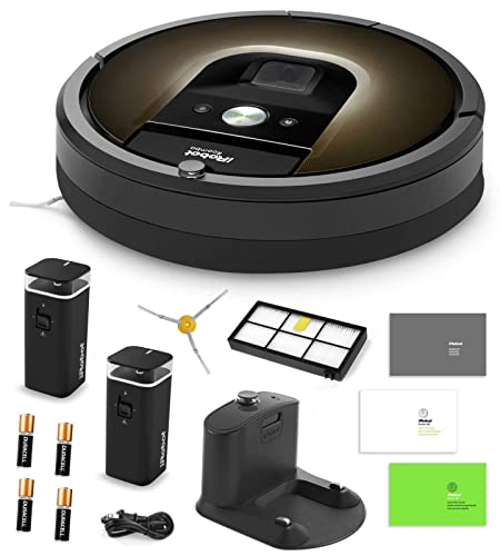 iRobot Roomba 980 Vacuum Cleaning Robot + 2 Dual Mode Virtual Wall Barriers (With Batteries) + Extra Side Brush + Extra High Efficiency Filter + More