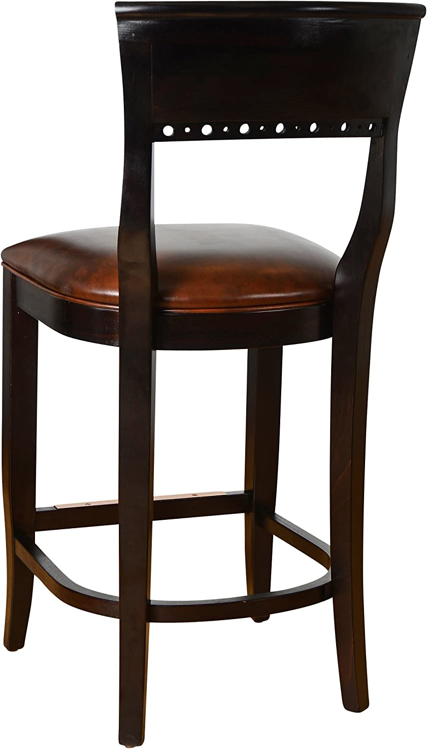 Wooden Counter and Bar Stool- Fully Assembled Solid Beech Wood Chair with Padded Faux Leahter Seat and Sturdy Wenge Back for Kitchen, Home or Commercial – BSD-6B24-WG by Beechwood Mountain