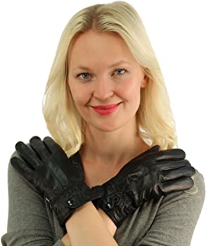 Ladies Winter 3M Thinsulate Soft Genuine Leather Wrist Snap Gloves Black