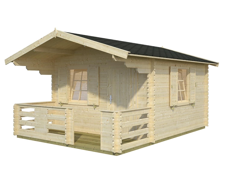 Palmako Blockbohlenhaus Sylvi 4,2+10,4 34 mm natur inkl. Terrasse und Fensterläden