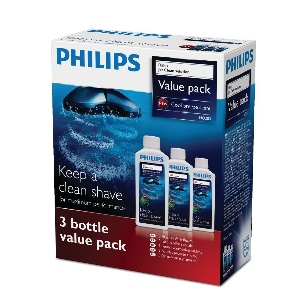 NEW PHILIPS HQ203 CLEANING SHAVER FLUID SOLUTION JET CLEAN PACK OF 6 HQ200/50