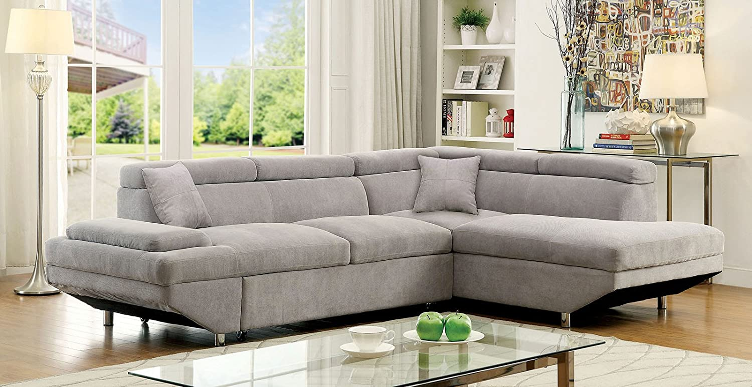 Lyngdal Contemporary Style Sectional Sofa Set Upholstered in Flannelette Fabric