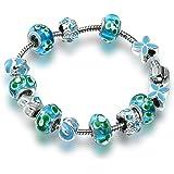 A TE® Bracciale Charms Cristalli Blu Verde Beads Vetro placcato in Oro Regalo Donna SKU:JW-B98