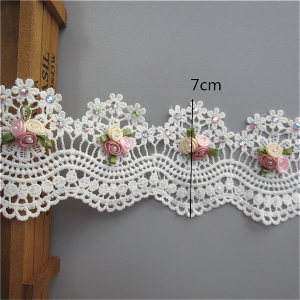 1 Meter Flower Diamond Pearl Lace Edge Ribbon 7 cm Width Vintage Style White Trimmings Fabric Embroidered Applique Sewing Craft Wedding Bridal Dress Embellishment Party Decoration Clothes Embroidery