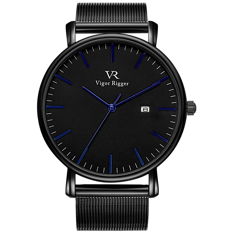 BUREI Men's Fashion Minimalist Wrist Watch Analog Deep Gray Date with Black Milanese Mesh Band (Blue-Mesh Band)