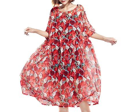 Plus Size Women Beach Dress Bohemian Style Red Apple Printing 2 Pcs ...